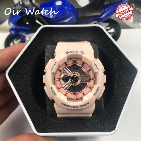 (Ready stock) Original BABY G BA-110 Womens Digital Sport Watch Deep Shockproof and Waterproof Translucent Resin Strap Watches for women With 2 Years Warranty BA110 (Pink) Malaysia