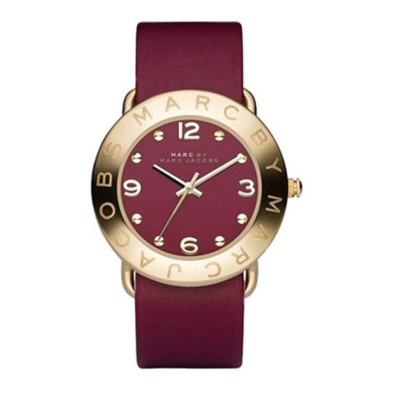 a0d10b5e1e288 Marc by Marc Jacobs Amy Gold-tone 36mm Dial Leather Strap Ladies Watch MBM