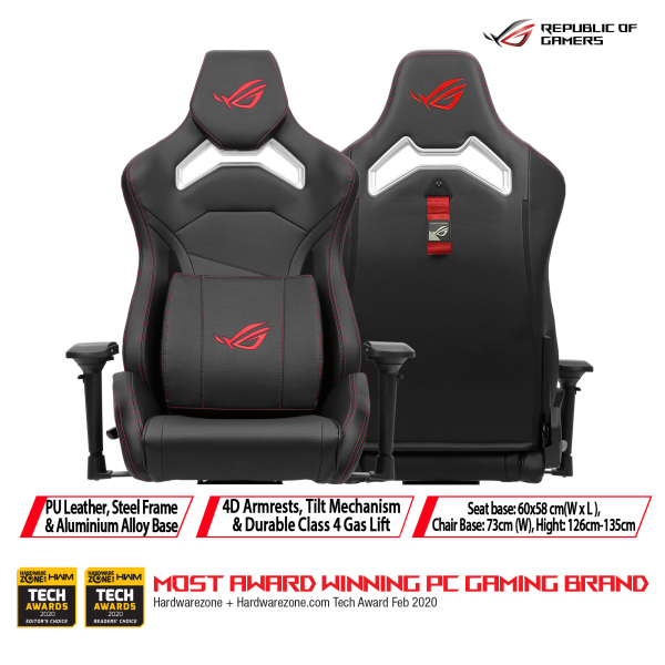 [Free Installation & Delivery] ASUS ROG Chariot Core gaming chair in racing-car style, featuring an adjustable high-density foam headrest, memory-foam lumbar support, 4D armrests, tilt mechanism and durable class 4 gas lift