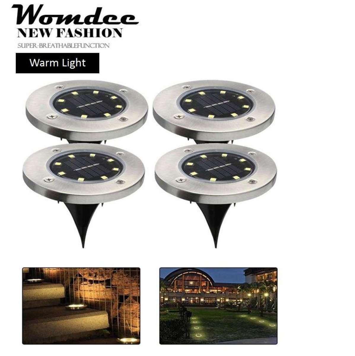 Womdee Solar Path Lights, Solar Powered Ground Lights, Waterproof LED Solar Path Lights,Solar Outdoor Lighting 8 LED For Driveway Yard Lawn Pathway Swimming Pool Landscape Access - intl