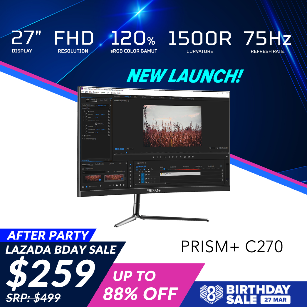 PRISM+ C270 27 75Hz 1500R Curved Productivity Monitor Gaming Monitor [1920 x 1080] [Pre-Order: Ships out Mid April to Late April]