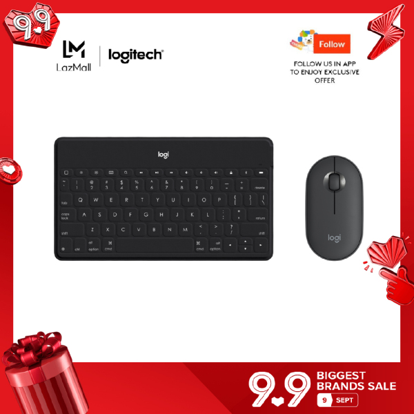 Logitech Keys To Go Super-Slim and Super-Light Bluetooth Keyboard + Logitech Pebble M350 Wireless Mouse with Bluetooth Singapore