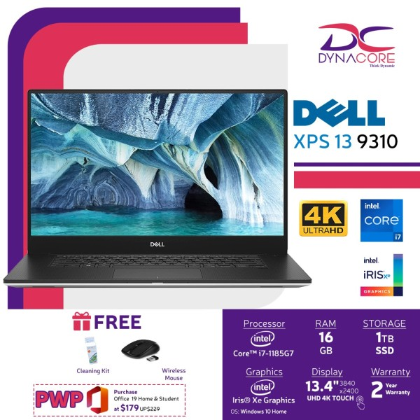 DELL XPS 13 9310 UHDT (i7-1185G7   16GB   1TB SSD   IRIS Xe   WIN10   13.4 INCH UHDT) 2 YEARS WARRANTY