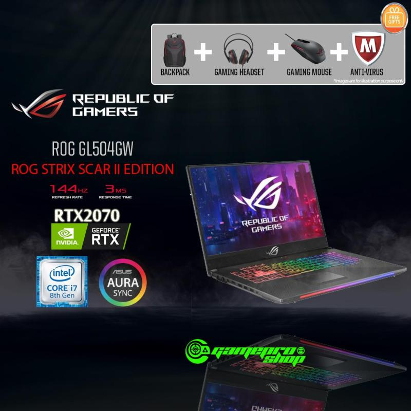 ASUS ROG Strix  GL504GW - ES074T RTX2070 (I7-8750H / 16GB / 256GB SSD + 1TB HDD / W10) 15.6 FHD with 144HZ GAMING LAPTOP *NDP PROMO*