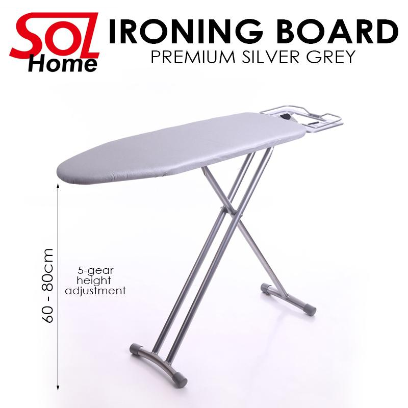 Sol Home ® Premium Standing Ironing Board (grey) Iron Board Fire Retard Fabric Ironing Board Cover (cl) By Shoponlinelah By Sol Home.