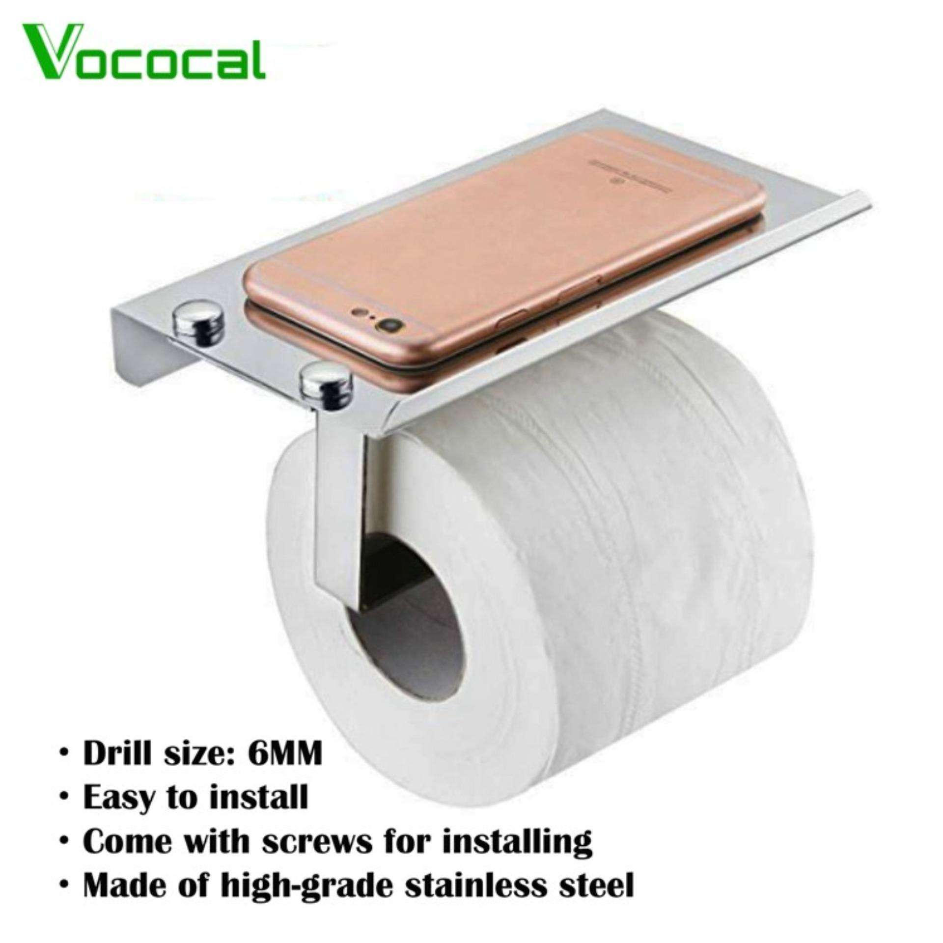 04ba7b6f0c850b Vococal Wall Mounted 2 in 1 Stainless Steel Wall Toilet Roll Paper Holder  Rack Tissue Roll