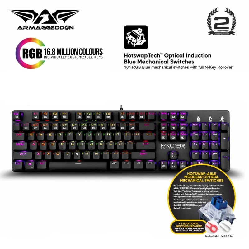 Armaggeddon MKO-13R Customizable Full Size Programmable RGB Optical Blue Switch Mechanical Keyboard Singapore