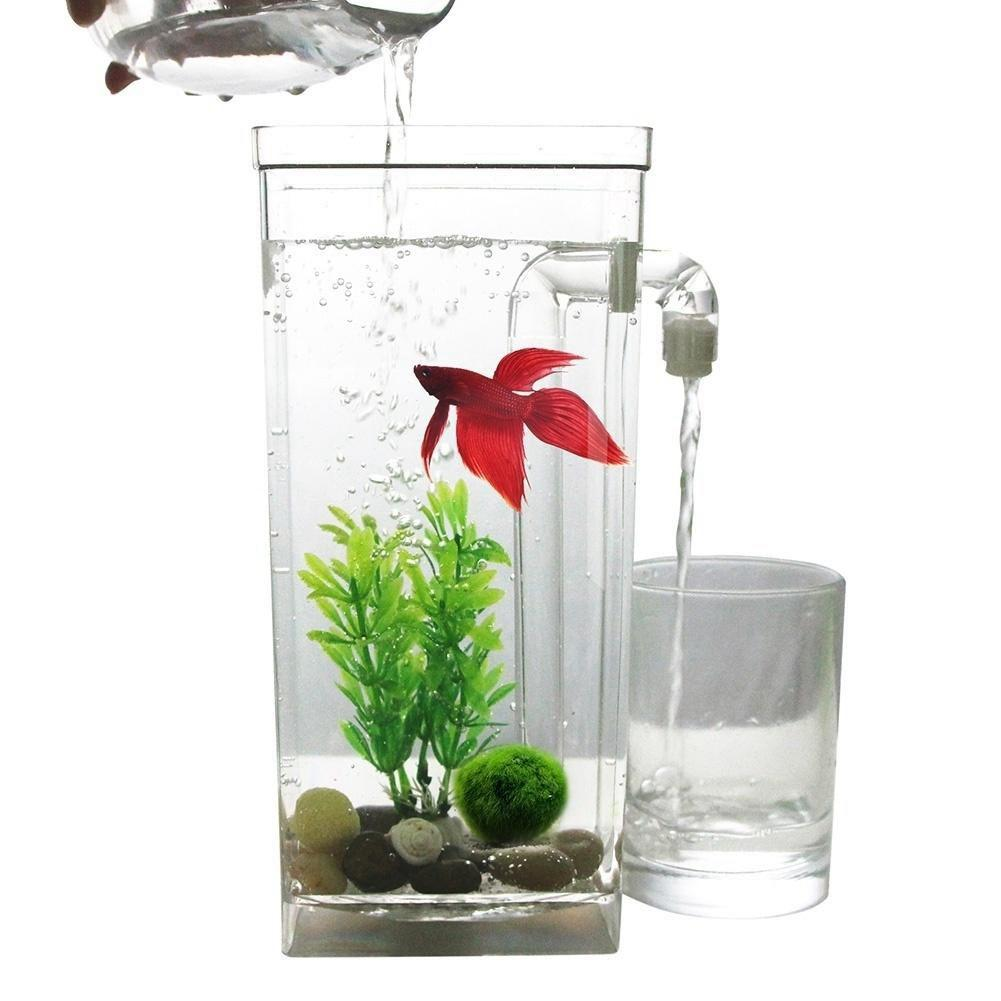 LED Mini Fish Tank Aquarium Self Cleaning Fish Tank Bowl Convenient Desk Aquarium for Office Home