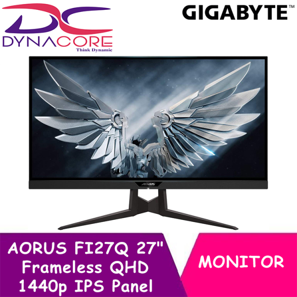 【EXPRESS DELIVERY】DYNACORE - GIGABYTE AORUS FI27Q 27 Inch Frameless 2K Gaming Monitor with IPS Panel, 1ms, 165 Hz, HDR, G-SYNC Compatible,FreeSync Premium, Height/Tilt/Rotation Adjustable, VESA