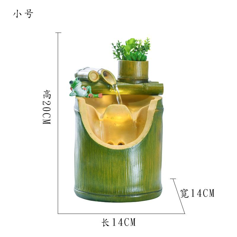 Modern Minimalist Bamboo Office Snnei Lucky Fengshui Wheel Living Room Creative Rockery Water Fountain Humidifier Decoration