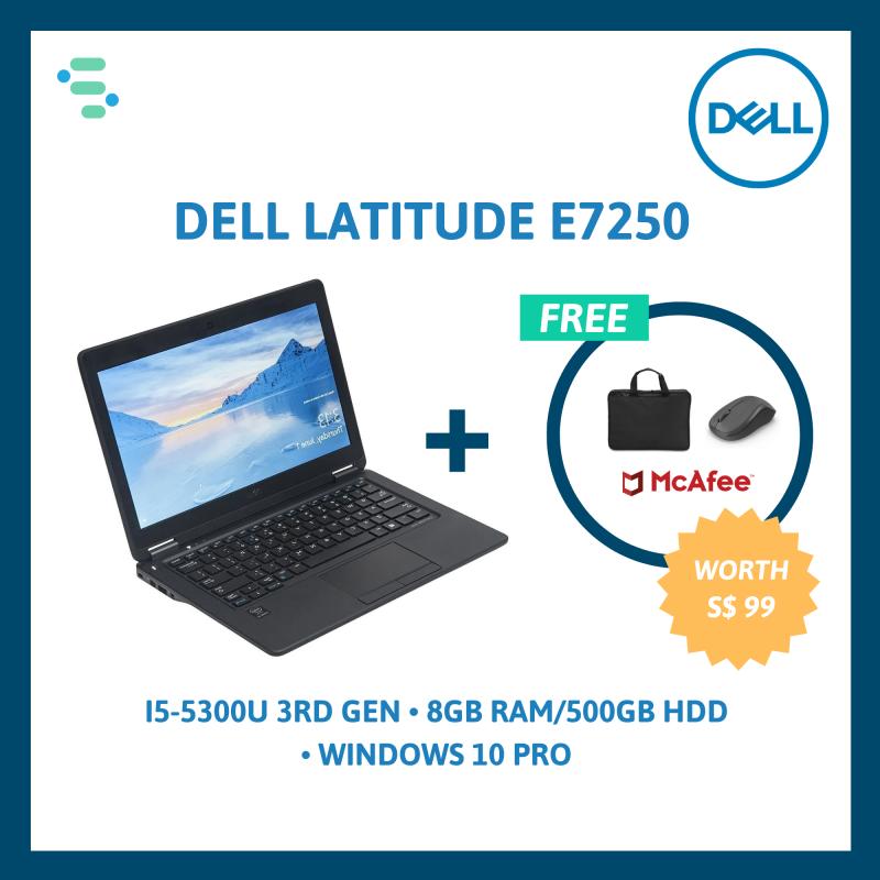 Dell Latitude E7250   12.5   Intel Core i5-5300U 3rd Gen   8GB Ram   500GB HDD / 256GB SSD   FREE Laptop Bag + Wireless Mouse + Anti-Virus