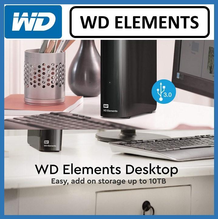 WD Elements (4TB 6TB 8TB 10TB) Desktop Hard Drive - USB 3 0