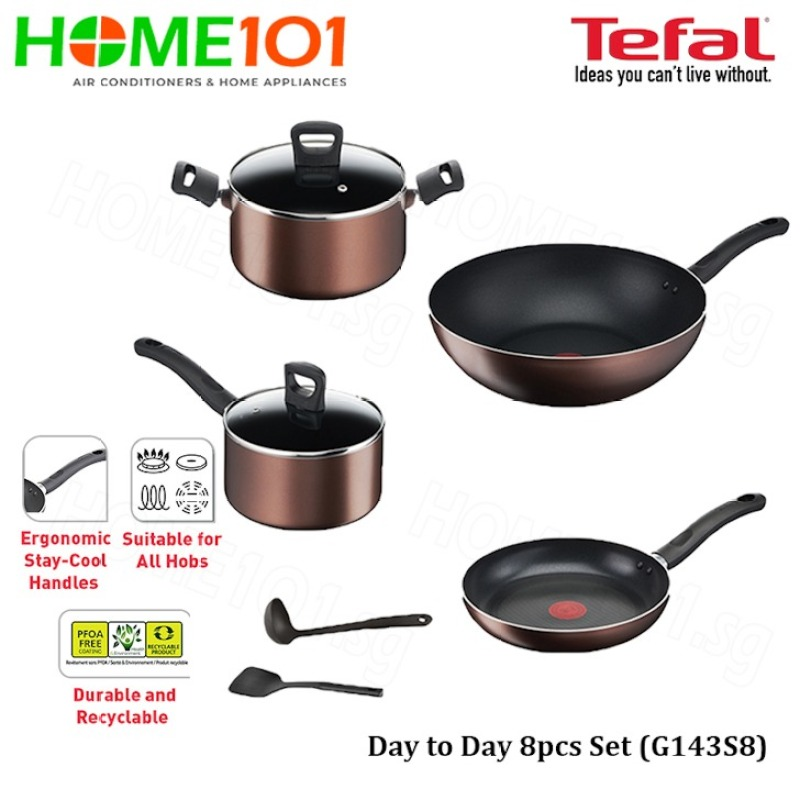 Tefal Cookware Day to Day 8pcs Set G143S8 Singapore