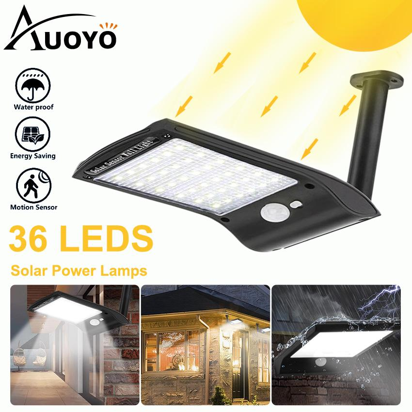 Auoyo 36 LED Solar Lights Outdoor Lighting Wireless Solar Motion Sensor Lights with Rotatable Mounting Pole IP67 Waterproof Security Lamp for Front Door Yard Garage Driveway