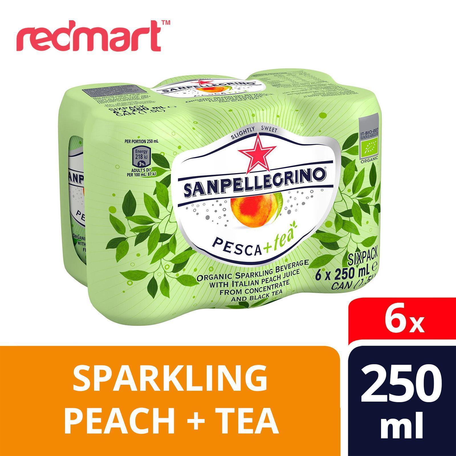 San Pellegrino Pesca+Tea Organic Sparkling Peach Tea Beverage - 6s Pack