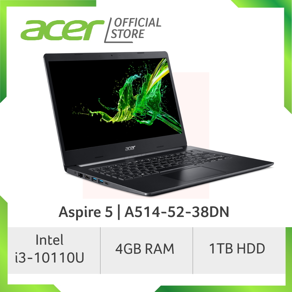 Acer Aspire 5 A514-52-38DN (Black) laptop with LATEST 10th gen Intel i3-10110U processor