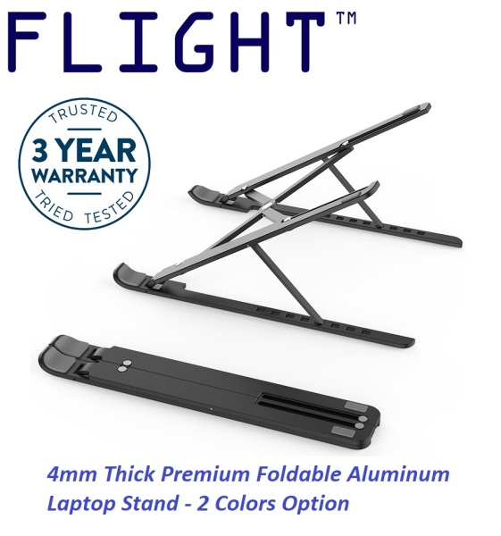 Flight™ Quality Aluminum Portable Laptop Stand Laptop Mount Upgraded 4mm Thick Profile Free Pouch Laptop Riser Hollowed-out Design Allows Heat Dissipation Foldable Compact Lightweight Portable