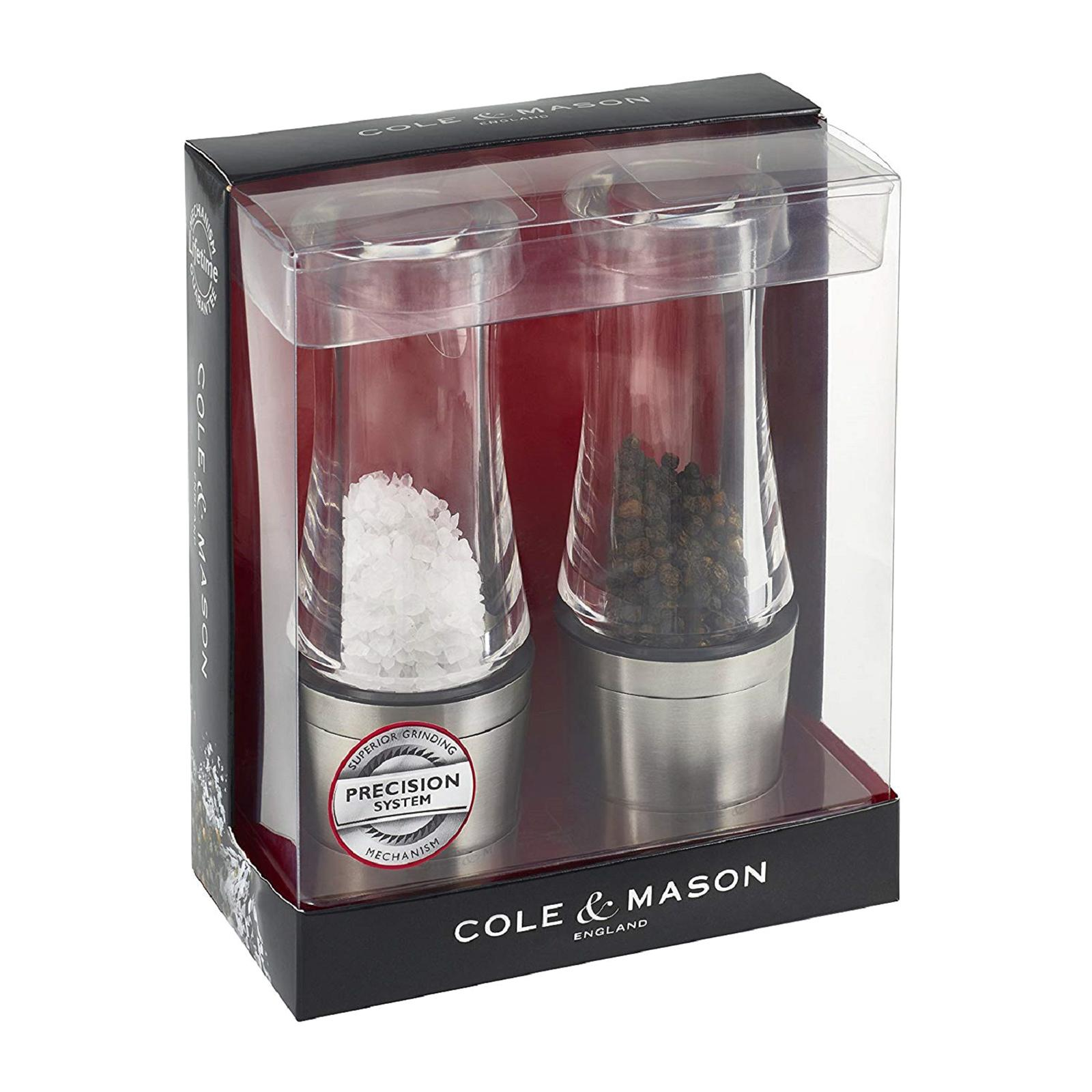 Cole & Mason Stainless Steel Acrylic Downton Salt And Pepper Mill Gift Set