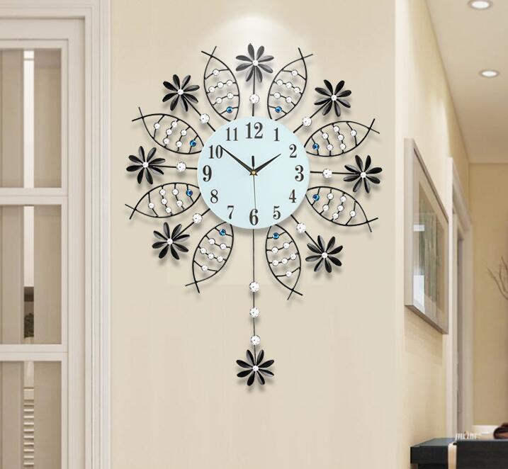 European Style Iron Creative Swing Clock Living Room Modern Simple Mute Clock Individuality Household Quartz Clock