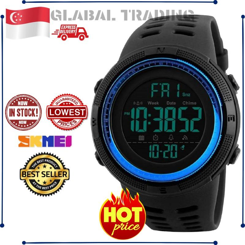 [100% Local Sg Seller & Genuine]new Skmei Mens Sports Watch Chronograph Alarm Clock Digital Watch 50m Waterproof Dual Time Countdown Stopwatch 1251 - Intl By Glabal Trading.