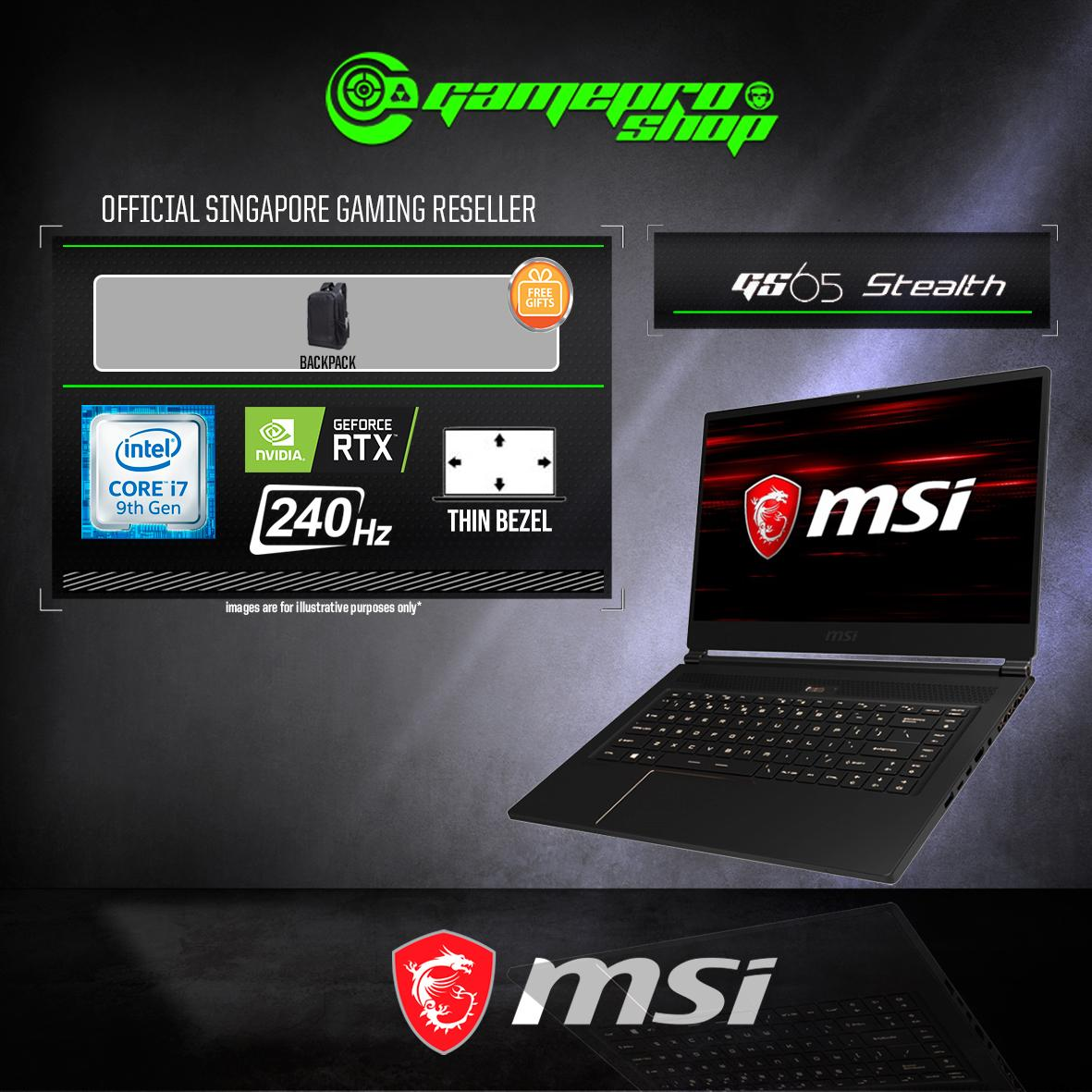 9th Gen MSI GS65 RTX2060 STEALTH 9SE - 680SG (i7-9750H / 16GB / 1TB SSD / WIN 10) 15.6 FHD with 240Hz GAMING LAPTOP *GSS PROMO*