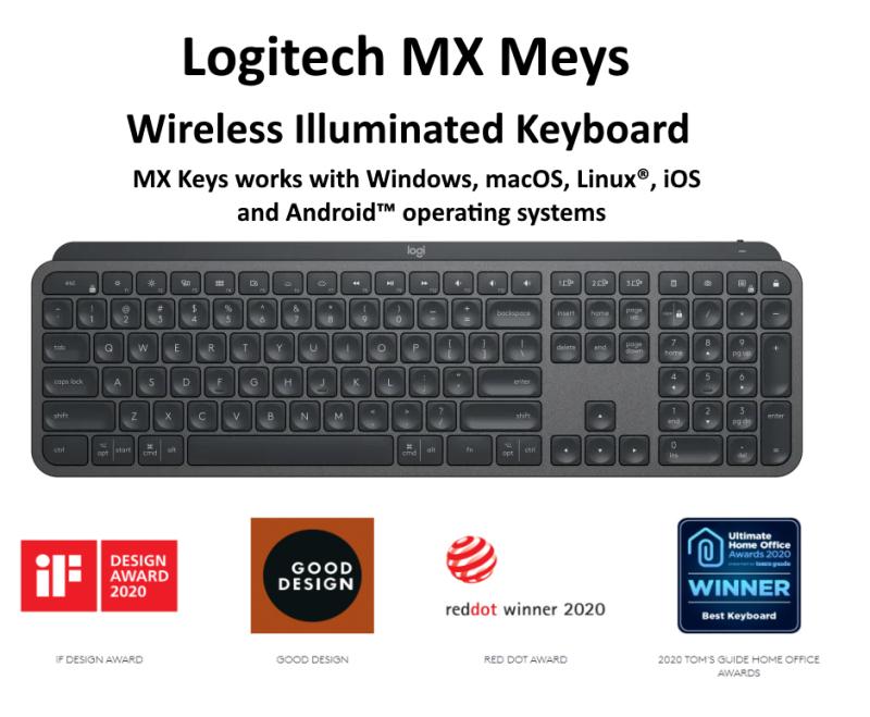 Logitech MX Keys Advanced Wireless Illuminated Keyboard, Bluetooth, USB-C Singapore