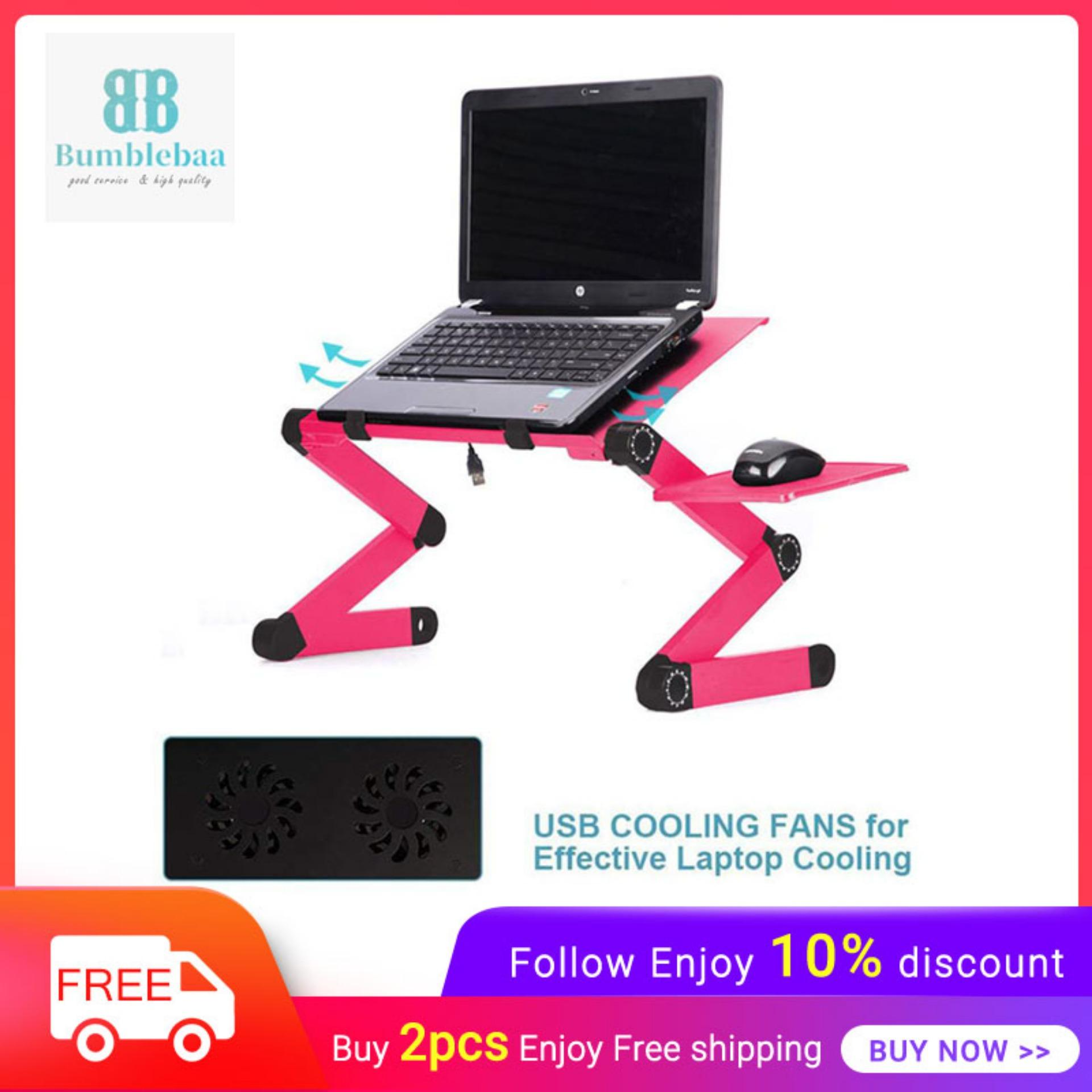 Bumblebaa Portable Adjustable Aluminum Laptop Desk/Stand/Table - Ergonomic TV Bed Lap Tray with Vented Cooling Fans