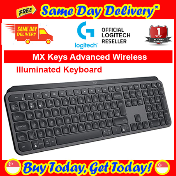[Free Same Day Delivery*] Logitech MX Keys Advanced Wireless Illuminated Keyboard 920-009418 (*Order Before 2pm on working day,  will deliver the same day,  Order after 2pm, will deliver next working day.) Singapore