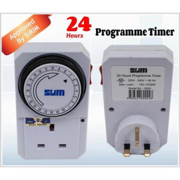 SUM 24 Hour Timer Program Wall Plug Adapter Analog with Sirim Approved