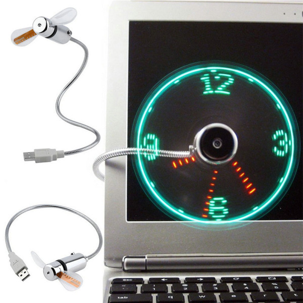 Bảng giá FISHBONE Hàng mới về Thiết bị ngoại vi máy tính Có thể điều chỉnh Tiện ích tuyệt vời cho Home Office PC Notebook Hiển thị thời gian Quạt đồng hồ USB với đèn LED Đồng hồ quạt LED thời gian USB Phong Vũ