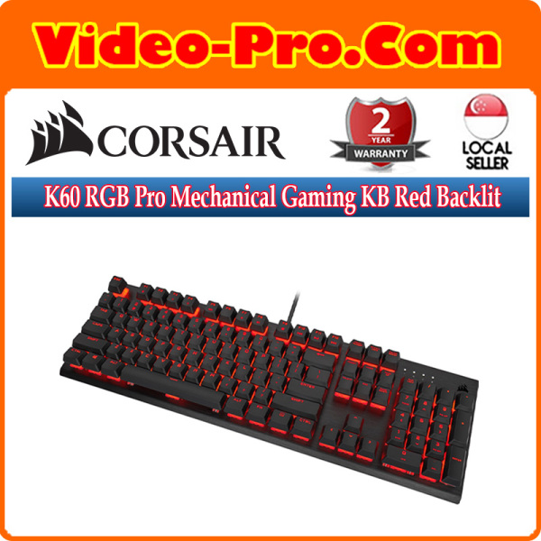 Corsair K60 RGB Pro Mechanical Gaming Keyboard Red Backlit LED Cherry Viola Switch CH-910D029-NA Singapore