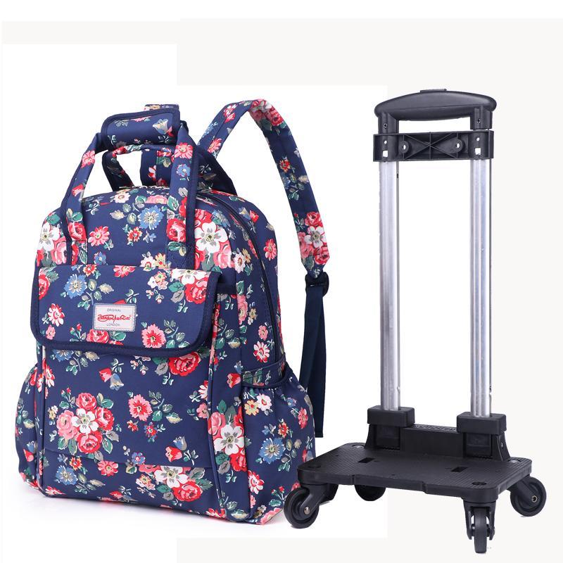 Hand Bar Package Female Can Back Removable Trolley Backpack Large Capacity Travel Bag Light Bag Waterproof Bag