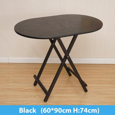 Colorful Oval Folding Portable Foldable Table - Black 60(W) x 90(L) x 74(H) cm