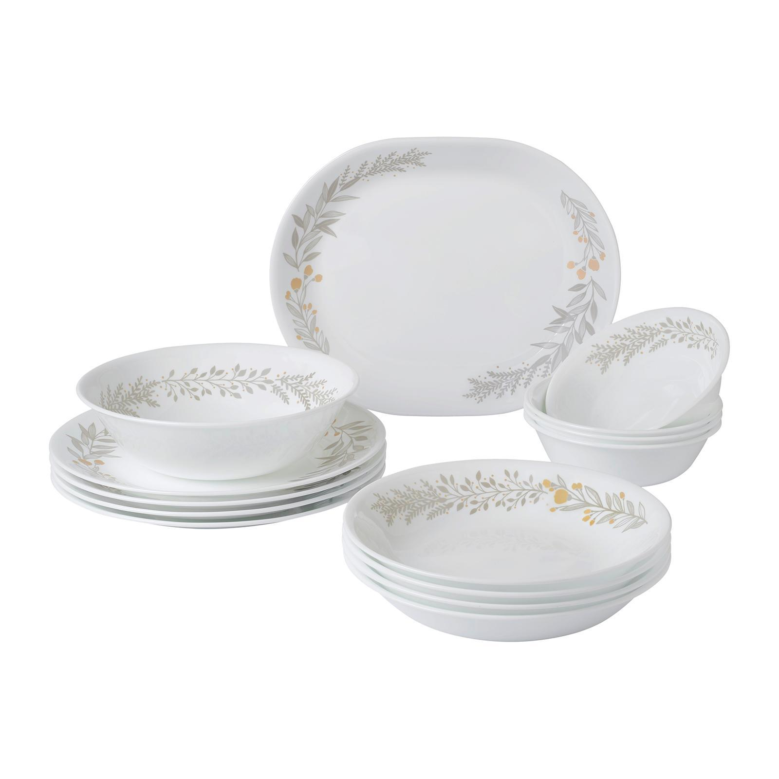 Corelle 14 PCS Dinner Set (Design: Silver Crown)