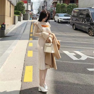 Dệt Kim Qua Đầu Gối Đầm 2020 Thu Đông Mẫu Mới Phiên Bản Hàn Quốc Phong Cách Tây Tuổi Giảm Ánh Sáng Gió Áo Len Áo Lót Đầm Nữ thumbnail