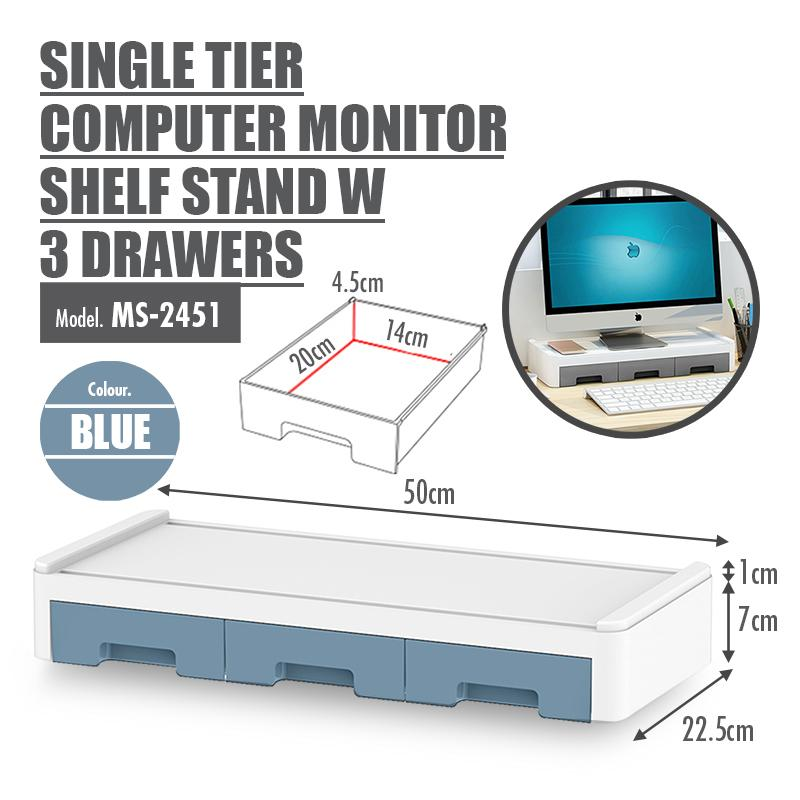 Single Tier Computer Monitor Shelf Stand with 3 Drawers