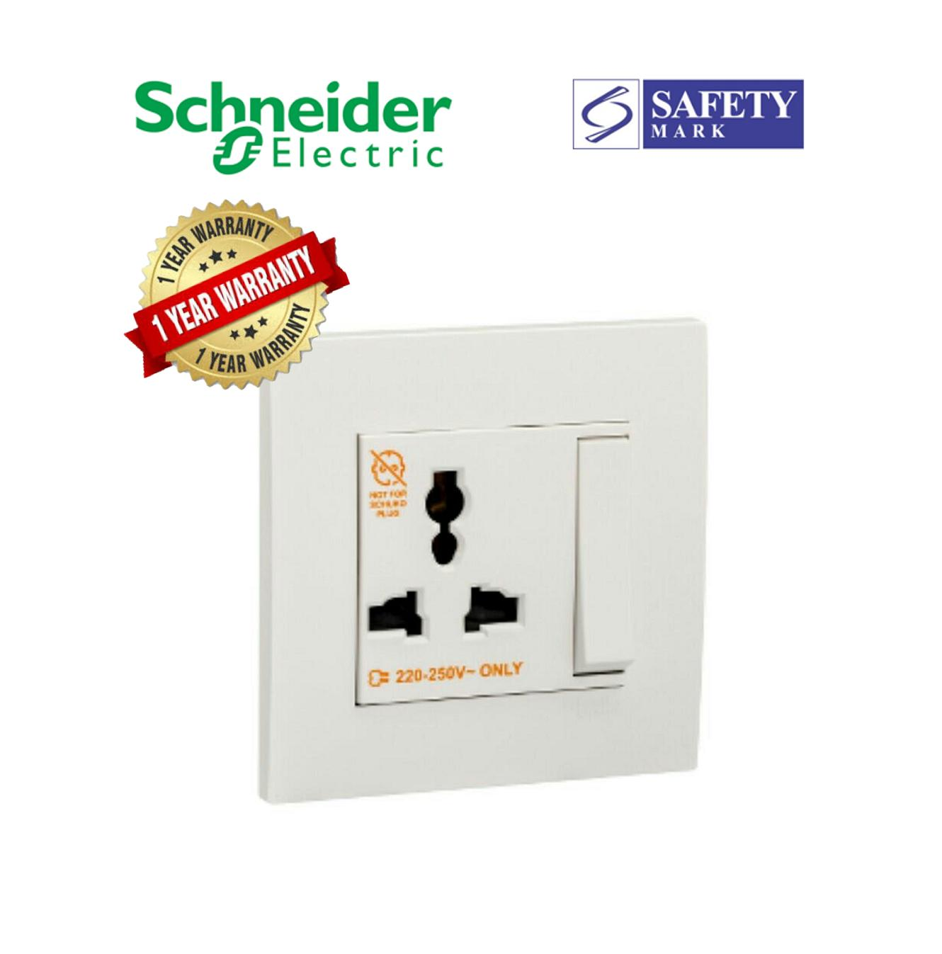 Schneider Electric Vivace- 13A 250V 1Gang 3Pin Dolly Switched Universal Socket, White