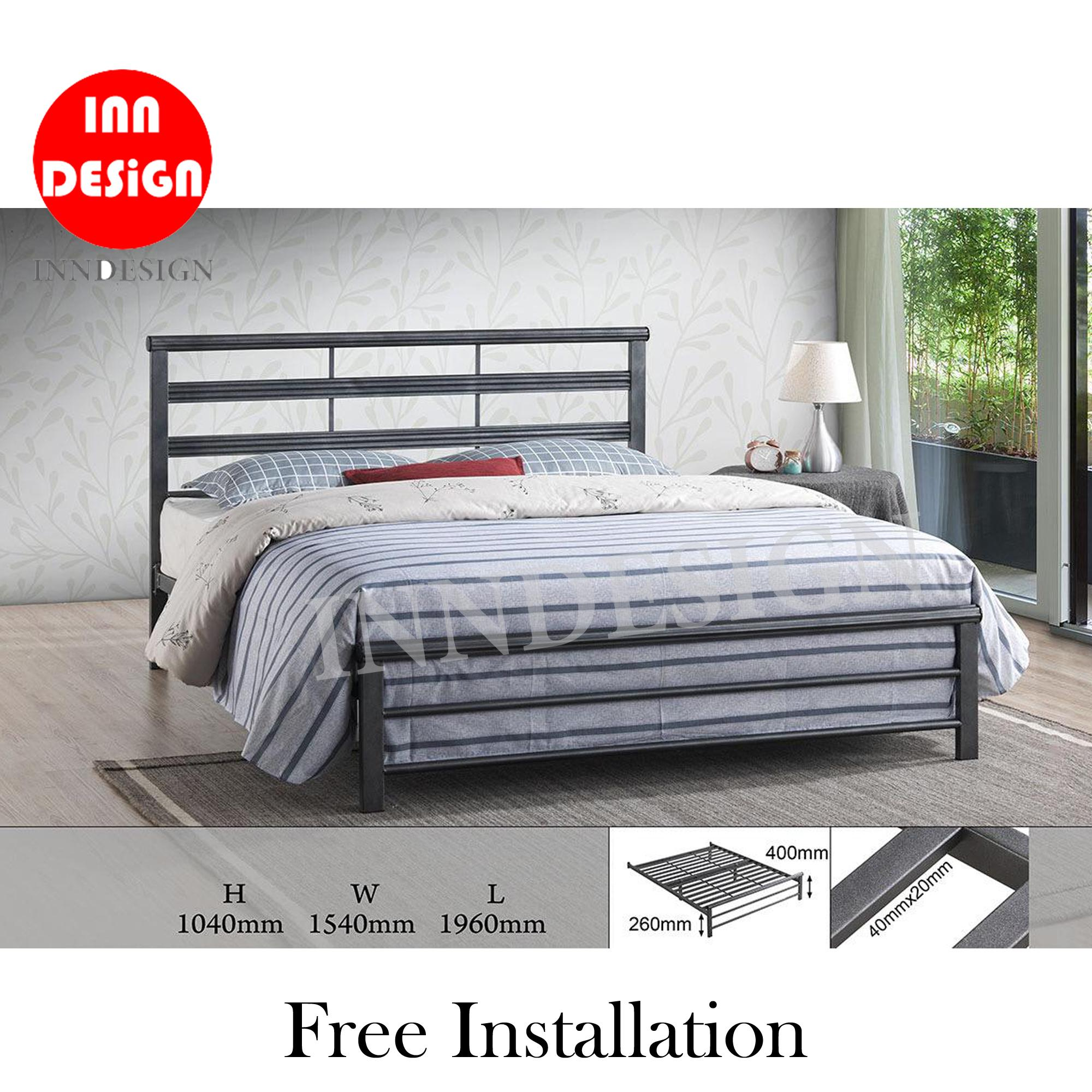 [1 Years Warranty] Emmie Solid Queen Metal Bedframe / Metal Bedframe (Free Delivery and Installation)