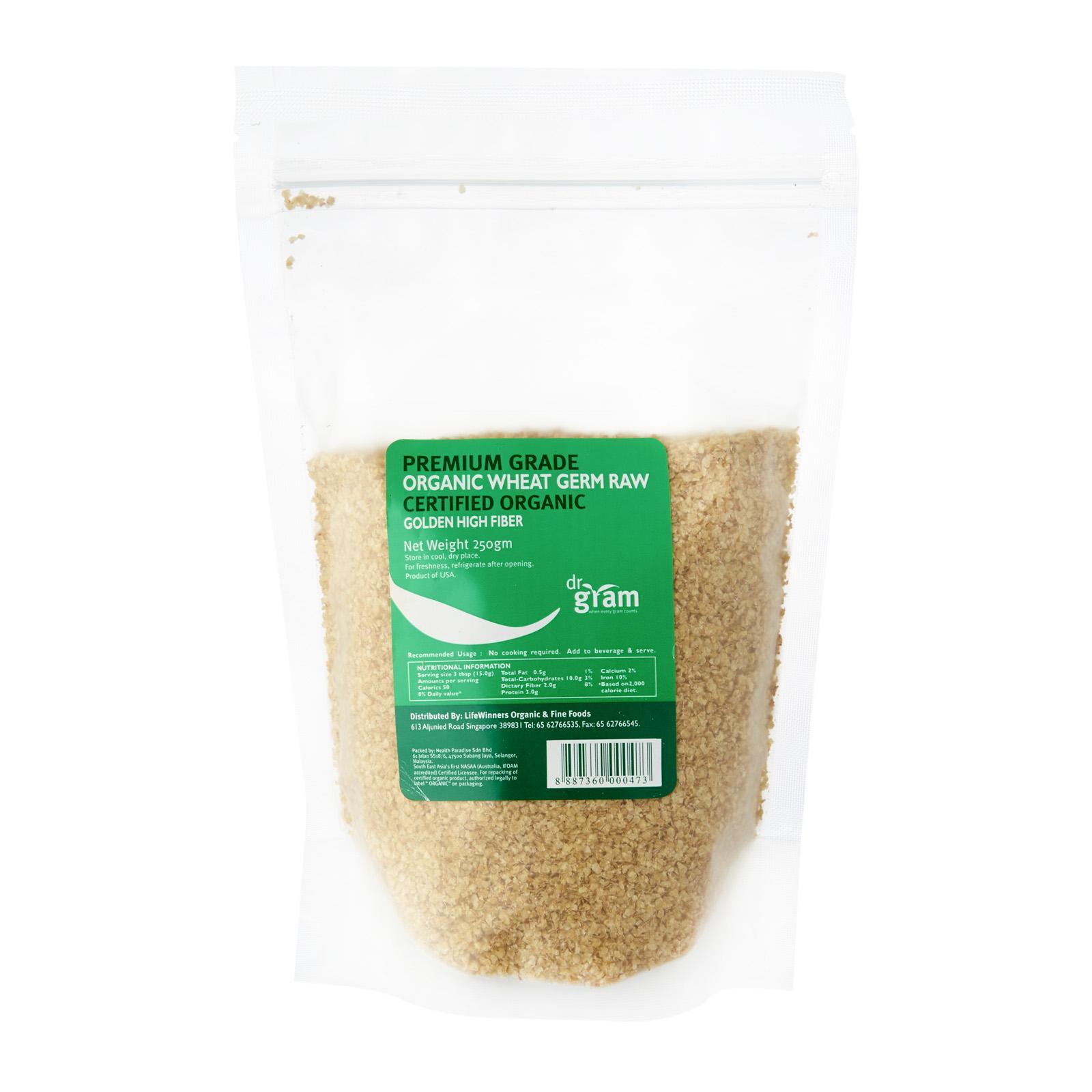 Dr Gram Organic Raw Wheat Germ 250g (4 Packets) By Lifewinners Organic & Fine Foods.