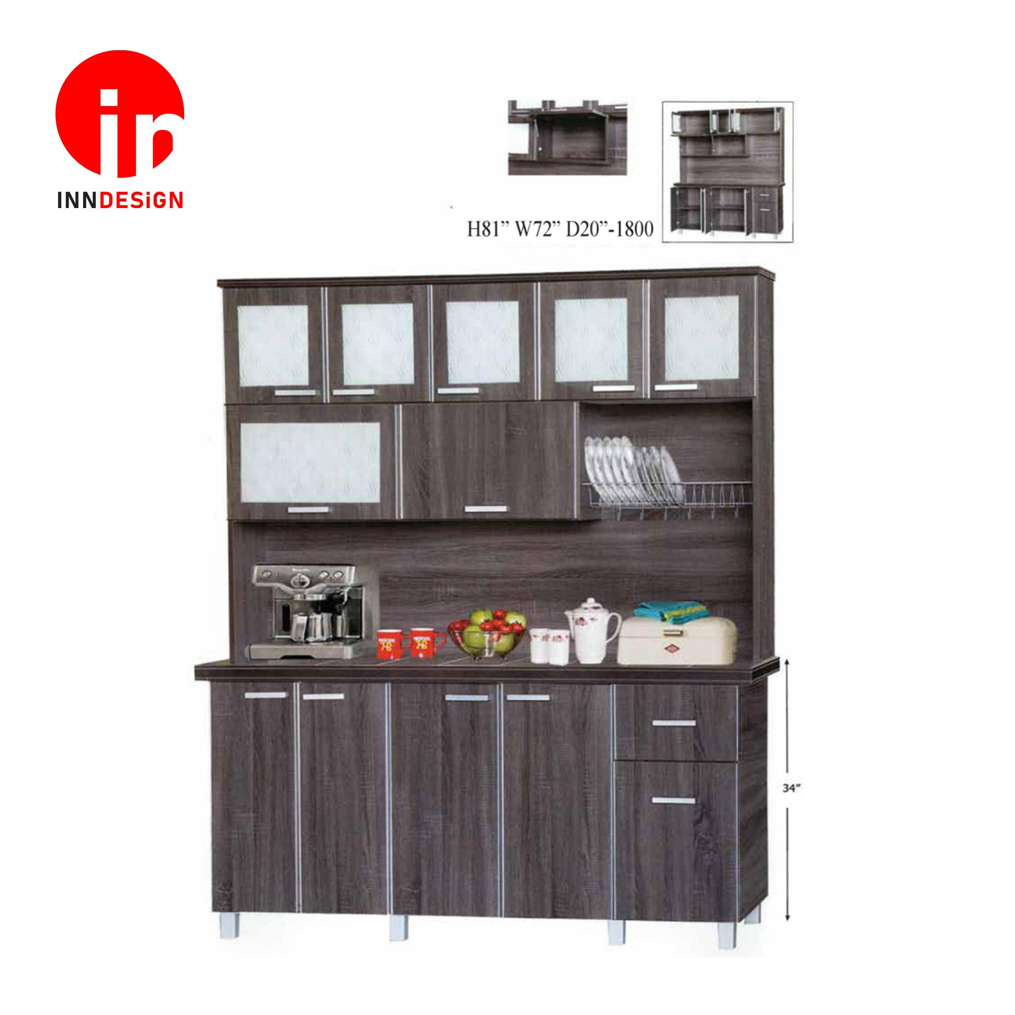 Cassiva 5 Doors Kitchen Cabinet With Top (Ceramic Tiles Top) (Free Delivery and Installation) (Walnut)
