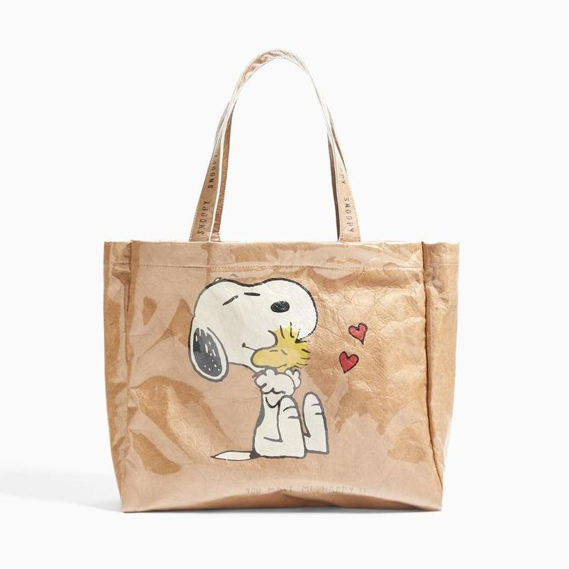 1942f30b41a Singapore. ZARA Kids Peanuts snoopy PVC-coated vinyl brown paper tote bag