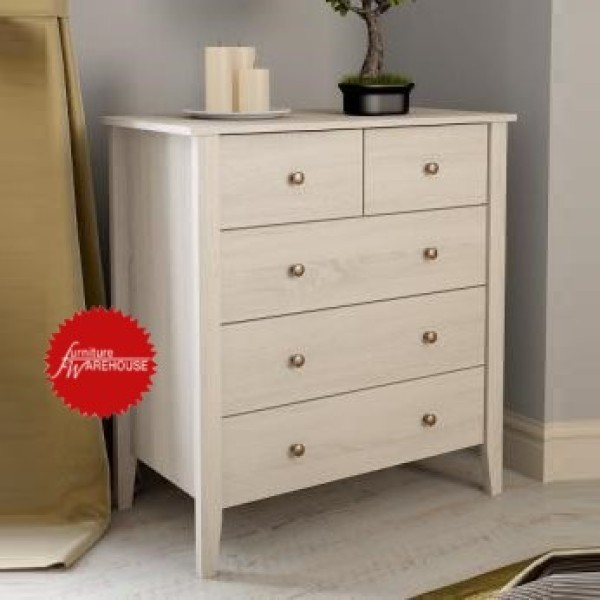 NEW SERIES CHEST OF DRAWERS CABINET WHITE WASH COLOUR [FREE DELIVERY & INSTALLATION]