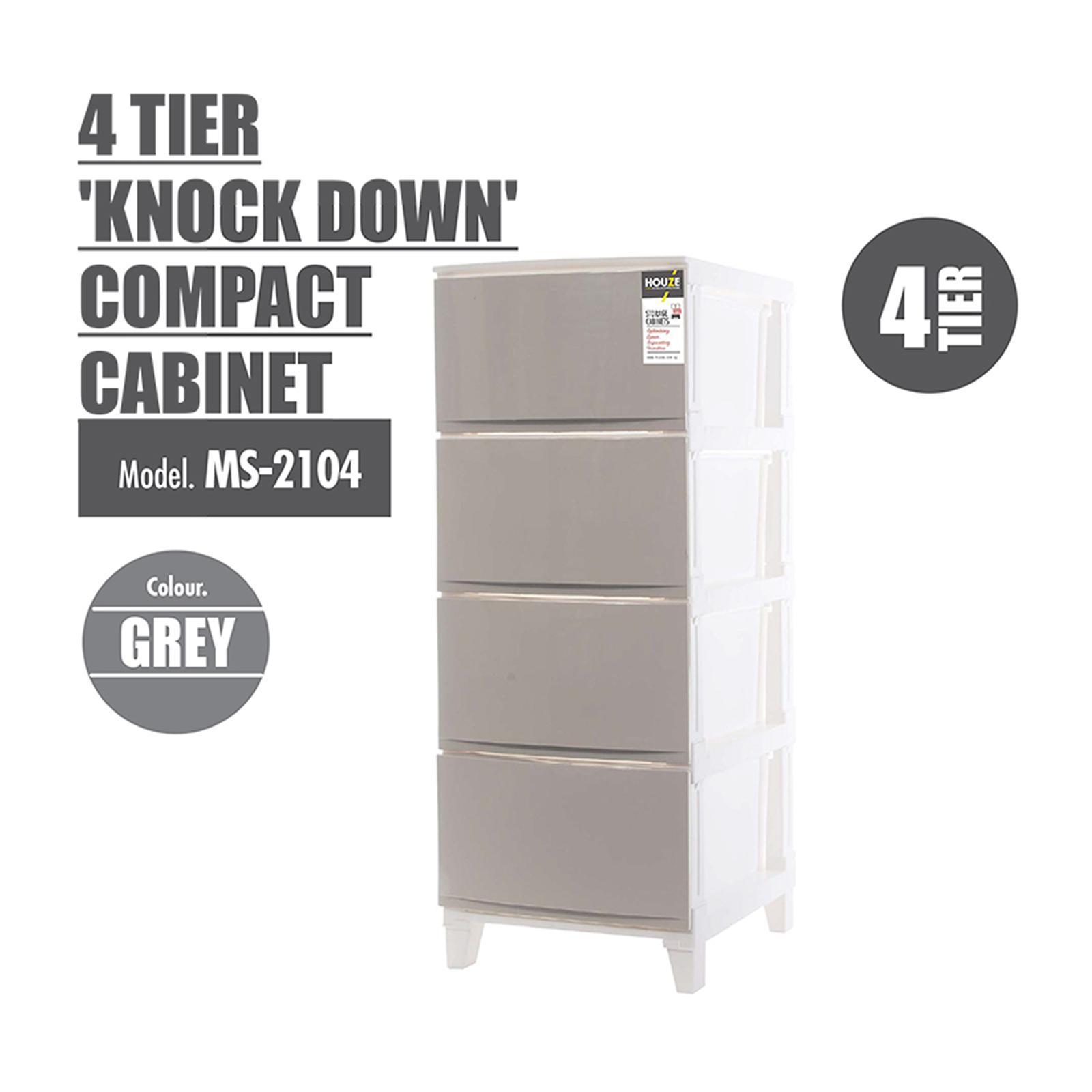 Houze 3 Tier 'Knock Down' Compact Cabinet - Grey - MS-2103-GREY