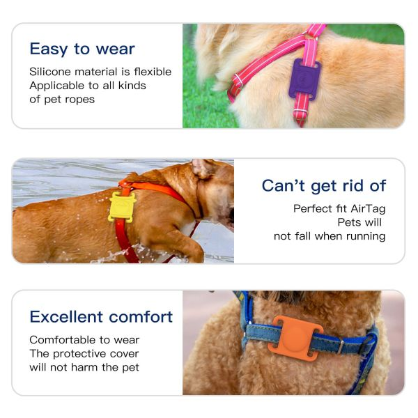 XIHONEY Colorful Anti-lost Locator Pet Case Cover Protective Silicone Dog Cat Collar Loop