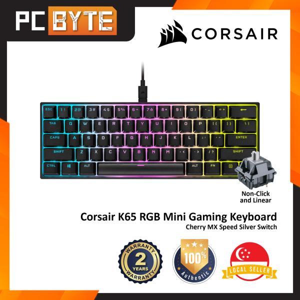 Corsair K65 RGB Mini 60% Mechanical Gaming Keyboard - (61 Keys / Cherry MX Speed Silver Switch) Singapore