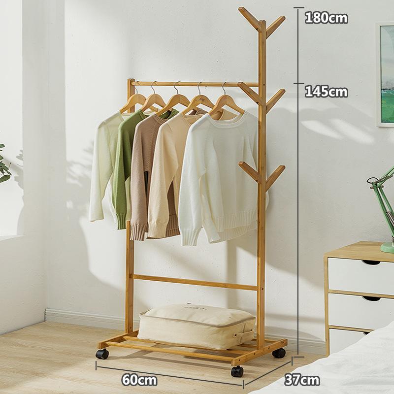 BSD Sedurre Attrarre Floor Hangers Bedroom Hallstand Household Cloth Rack Solid Wood Simplicity Storage Shelf