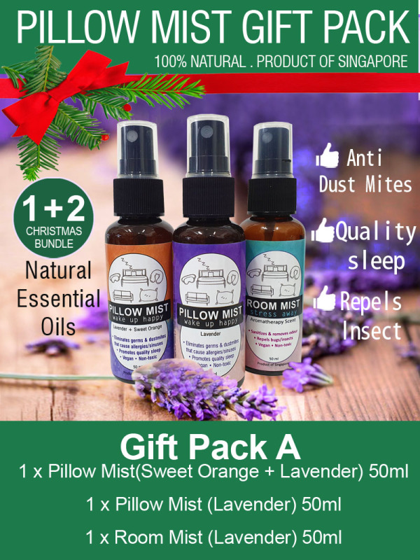 Buy Gift Pack (Natural Lavender Pillow Mist / Room Spray) Contains natural Lavender, Sweet orange essential oil Singapore
