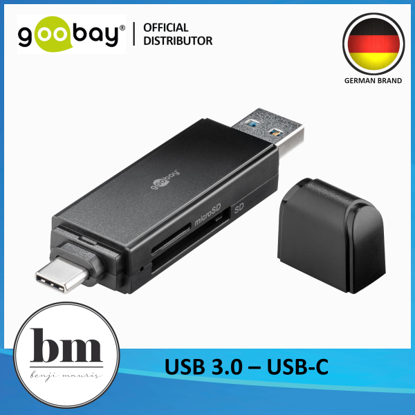 Goobay 2 in 1 Card Reader From USB + USB C to MicroSD/SD