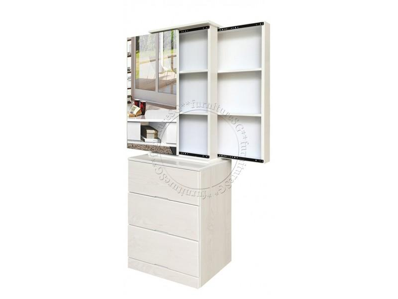 (FurnitureSG) White Wash Colour Dressing Table with 2 Sliding Compartments