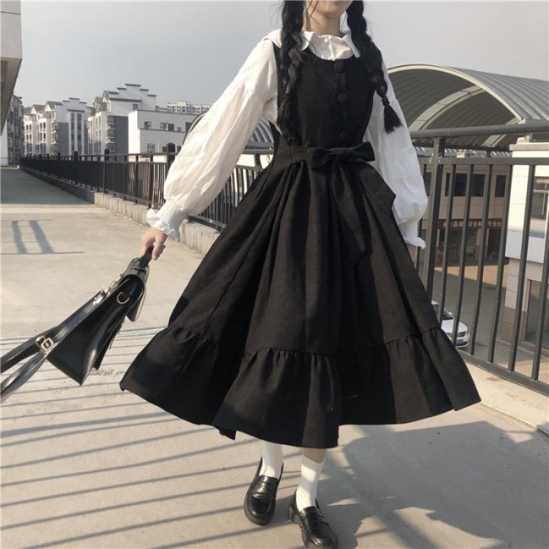 Váy Nữ 2020 Năm Mẫu Mới Thu Đông Nhỏ Tâm Cơ Tôn Dáng Khí Chất Bó Eo Đầm Đen Gió Nhẹ Nhàng Váy Yếm